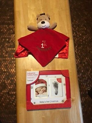 Pearhead Babyprints Newborn Baby Handprint Or Footprint Christmas Frame w/Toy