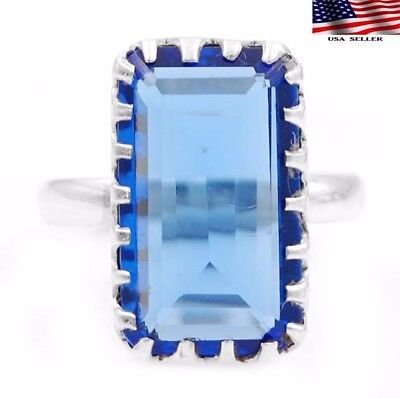 12CT Sapphire 925 Solid Genuine Sterling Silver Ring Jewelry Sz 8.5