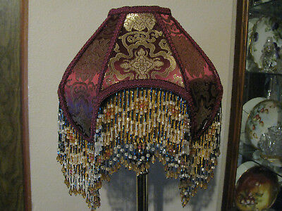 """Victorian French Med Princess Lamp Shade """"Wine""""  Fringe And 6"""" Beads"""