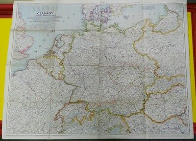 map National Geographic GERMANY and its approaches 1944 85 x 67 cm.