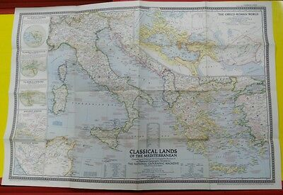 map National Geographic CLASSICAL LANDS of the Mediterranean 1949