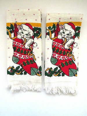PAIR Vintage Christmas Towels Kitten in Stocking Kitchen Towel Hand Towels NOS