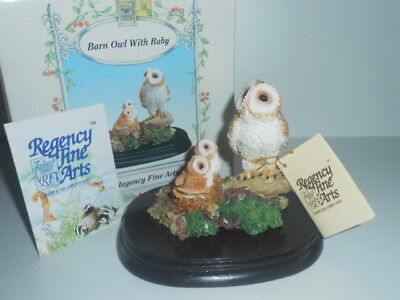 Regency Fine Arts Barn Owl With Baby / New In Box - See Photos