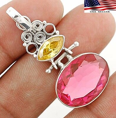 14CT Rubellite Tourmaline 925 Solid Genuine Sterling Silver Pendant Jewelry