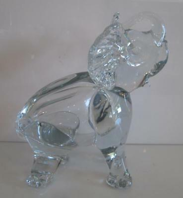 "Vintage 9"" Solid Crystal Glass Trunk Up Tusk Up Elephant Figurine Statue NR"