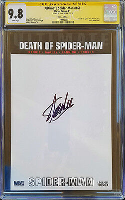 DEATH OF SPIDER-MAN #160 Blank Cover CGC SS 9.8 Signed by Stan Lee