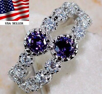 2CT Amethyst & White Topaz 925 Solid Genuine Sterling Silver Ring Jewelry Sz 8