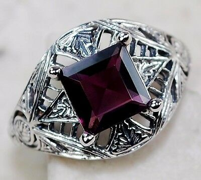 1CT Amethyst 925 Solid Sterling Silver Art Deco Filigree Ring Jewelry Sz 6