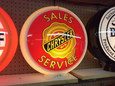 gas pump globe lens CHRYSLER SALES AND SERVICE reproduction 1 glass face 13.5""