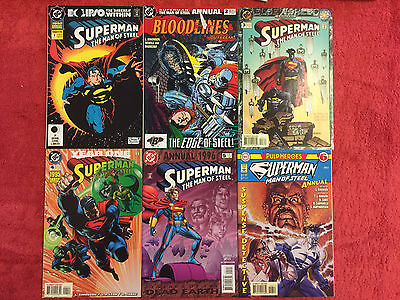 SUPERMAN MAN of STEEL Annual 1 2 3 4 5 6 DC RUN of 6 Complete VF+ 1992+