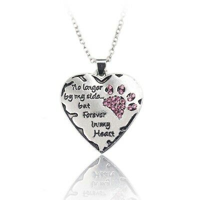 Memorial forever in my heart Cat Necklace Silver Chain jewelry