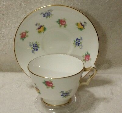 Vintage Crown Staffordshire Floral Tea Cup & Saucer Fine Bone China ENGLAND
