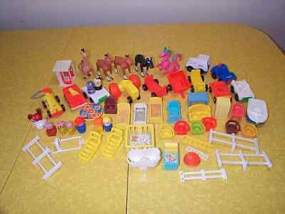 Vintage 1972 & 1973 Fisher Price Little People - Lot Of 57 Pieces - Nice !