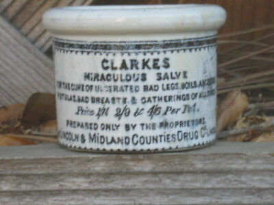 Antique CLARKES MIRACULOUS SALVE OINTMENT POT