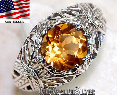 1CT Citrine 925 Solid Sterling Silver Art Deco Filigree Ring Jewelry Sz 9