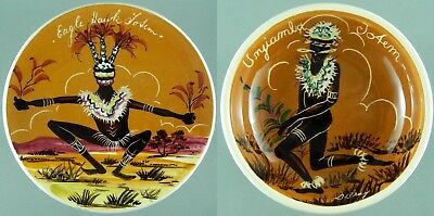 Guy Boyd Two Dishes Australian Aboriginal Hand Painted 50s 60s Artist Signed