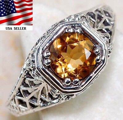 1CT Citrine 925 Solid Sterling Silver Art Deco Filigree Ring Jewelry Sz 7