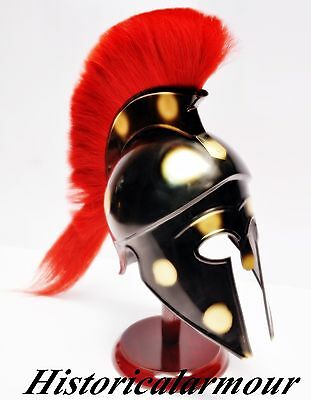 GREEK Corinthian Athenian Hoplite WARRIOR HELMET ARMOR Black PLUME CREST UNIQUE""