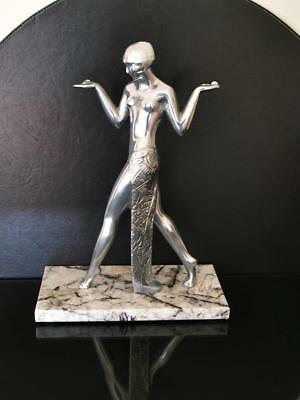Art Deco Guerbe Verrier Egyptian Revival, Highly Polished Aluminium Statue