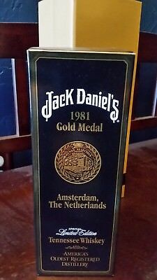 Jack Daniels 1981 Gold Medal with Box and  Mint unregistered Hang tag