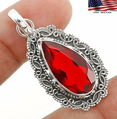 "8CT Fire Garnet 925 Solid Sterling Silver Pendant Jewelry 1 2/3"" Long"