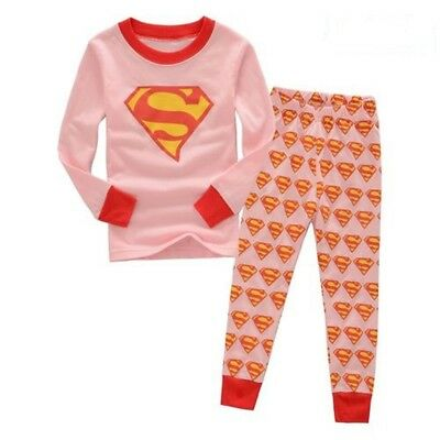 Superman Pajamas for girls Long-sleeved trousers sleepwear set 4T cozy Safety
