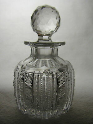 Superbly Cut ABP Cut Glass Cologne Bottle With Super Fine Rows Of Hobstars
