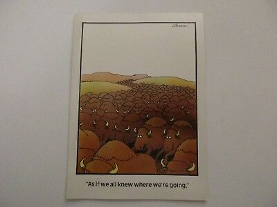 """Vintage """"The FAR SIDE"""" 1985 Greeting Card """"Dumb Cattle Herd""""  NEW MINT"""