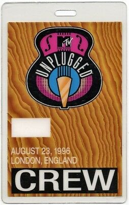 Oasis authentic 1996 concert tour Laminated Backstage Pass MTV Unplugged Crew