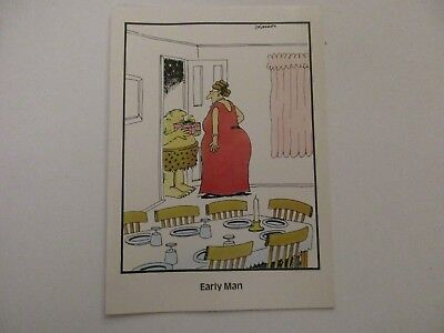 "Vintage ""The FAR SIDE"" 1982 Greeting Card ""Early Man Birthday Card""  NEW MINT"