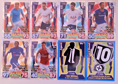 MATCH ATTAX PREMIER LEAGUE 2017/18 ASSIST KINGS Freestyler & Tactic cards Topps