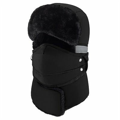 34e96d45349 (Black) Mysuntown Unisex Winter Trapper Trooper Hat with Windproof Mask