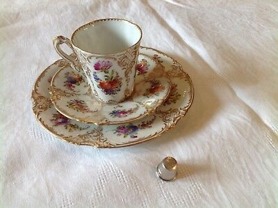 Dresden plate, cup and saucer in gold pattern very old