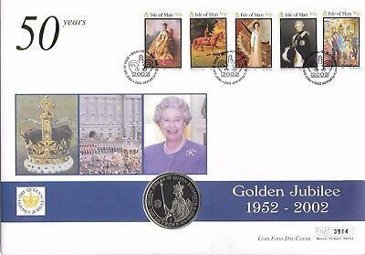 Isle of Man. Coin Cover. Golden Jubilee. 1 Crown Coin. 06/02/2002.