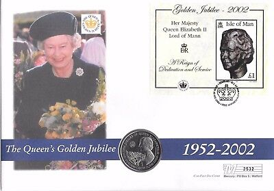 Isle of Man. Coin Cover. Golden Jubilee. I Crown Coin