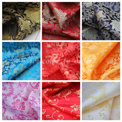 Damask Brocade Satin Fabric Cloth DIY Chinese Cheongsam Hanfu Traditional Dress