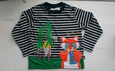 Jojo Maman Bebe baby boys top shirt 18-24 months white navy stripe, fox
