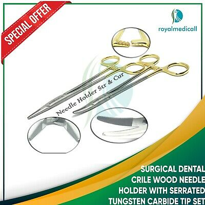 Surgical Dental Crile Wood Needle Holder With Serrated Tungsten Carbide Tip Set