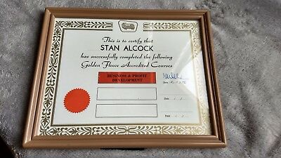 Golden Fleece Accredited Courses Certificate. Origional Agent Framed Item