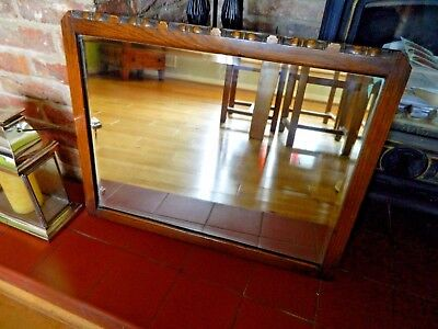 Lovely Large Antique Oak Edwardian  Overmantel Wooden Mirror Very Decorative