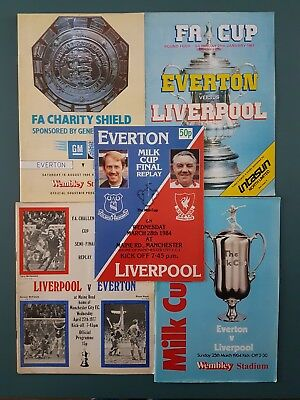 Liverpool FC V Everton Merseyside Derby FA Milk Cup Final Programmes 1970s 1980s