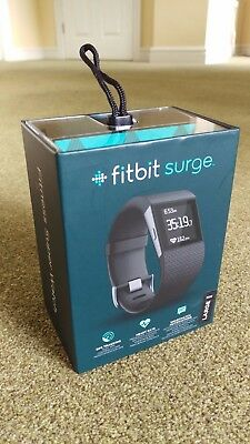 New & Sealed Black Fitbit Surge GPS Tracker - Size Large