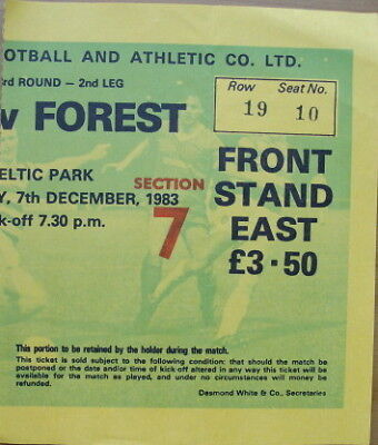 Ticket Celtic v Nottingham Forest UEFA Cup 1983/84