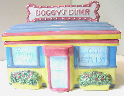 DOGGYS 50S DINER COOKIE JAR Canister Dog Treats Fitz and Floyd Omnibus 1994 NOS