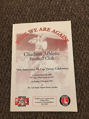 Charlton Athletic 50th Anniversary FA Cup Victory Dinner Signed Menu