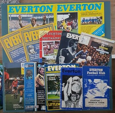 12 x Everton FC Matchday Programmes From Various Seasons 1970s 1980s 1990s