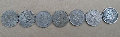 British Sixpence Coins - Six Pence 6d x 7