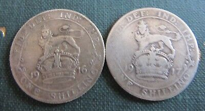 George V Sterling Silver 1916 & 1917 Shillings