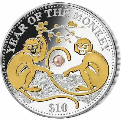1 oz Silber Fiji *Pearl - Year of the Monkey / Affe* 10$ 2016 PP mit CoA in Etui