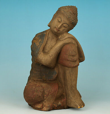 Ancient Chinese Old Wood Handmade Carved Reflect Monk Statue Figure
